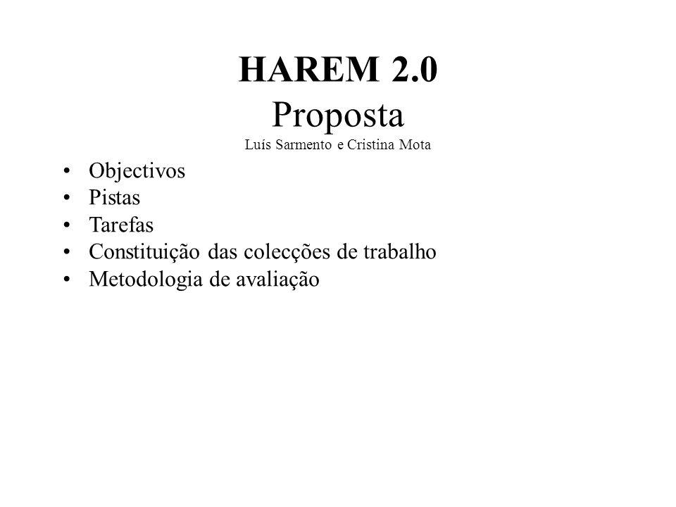 HAREM 2.0 Proposta Luís Sarmento e Cristina Mota