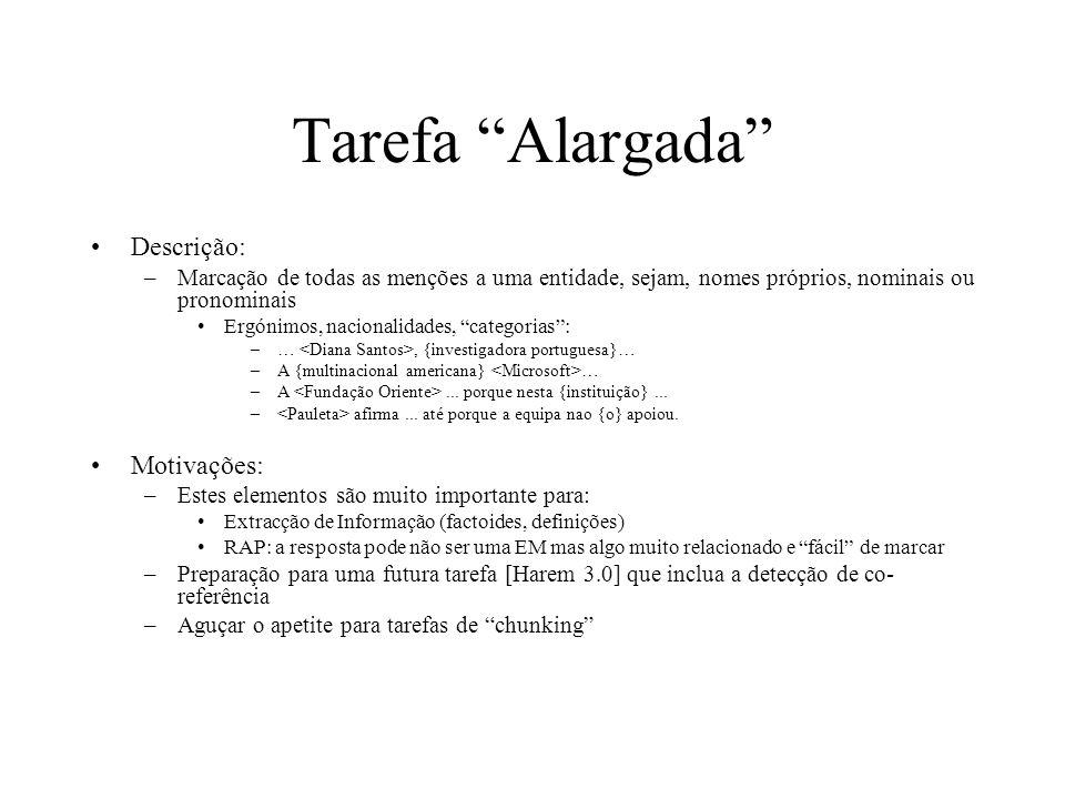 Tarefa Alargada Descrição: Motivações: