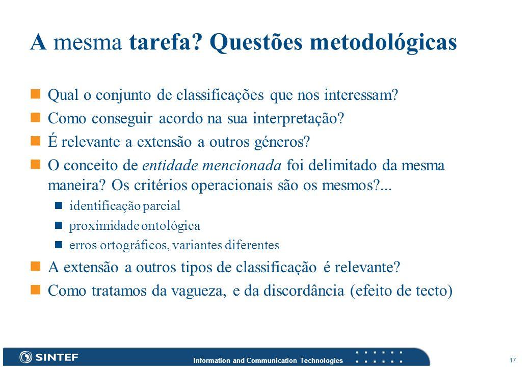 A mesma tarefa Questões metodológicas