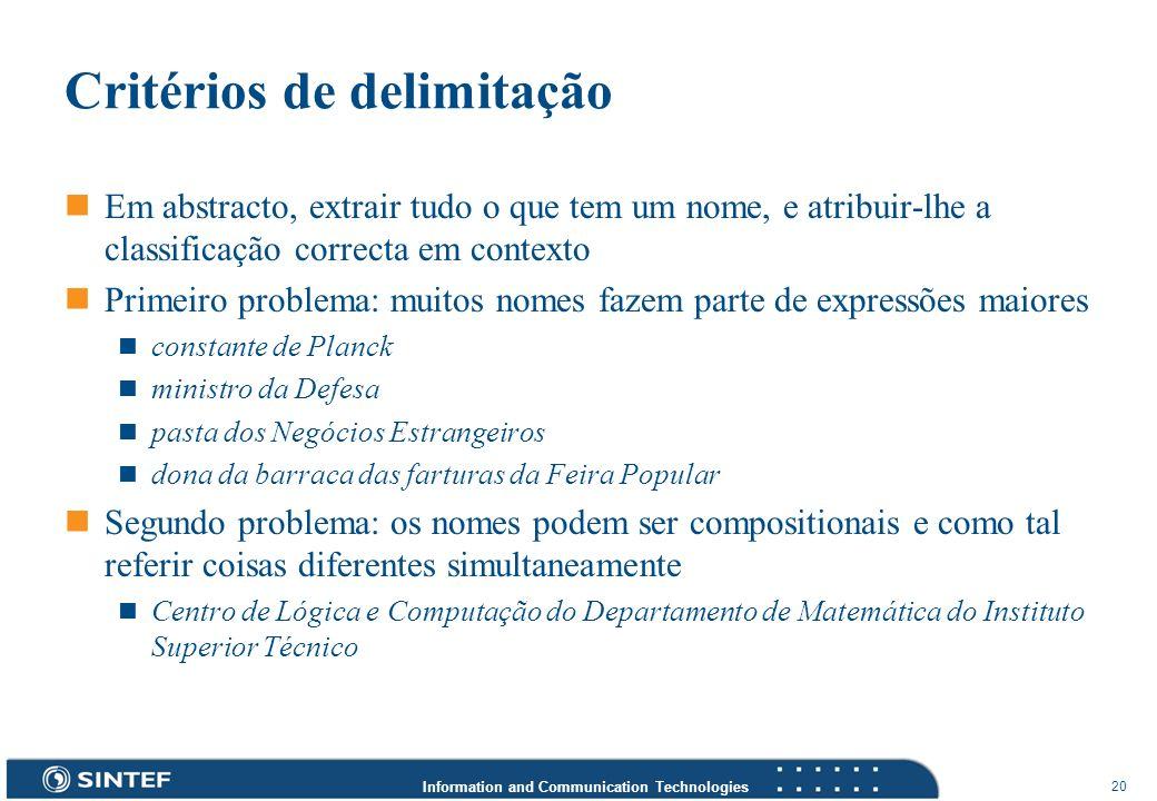 Critérios de delimitação