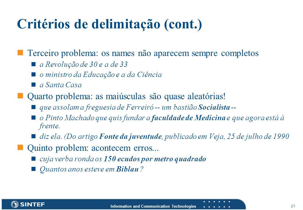 Critérios de delimitação (cont.)