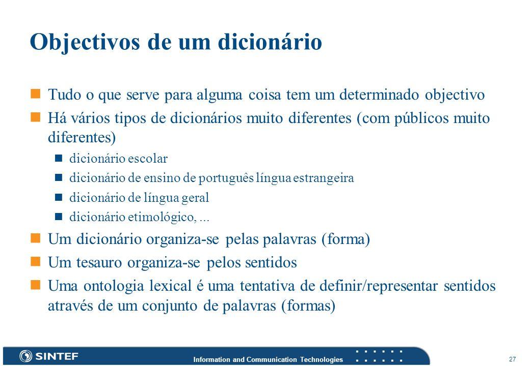Objectivos de um dicionário