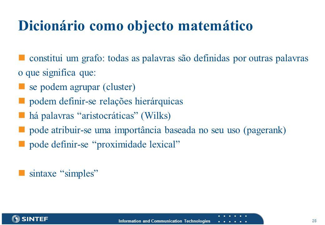 Dicionário como objecto matemático