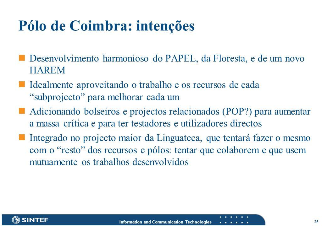 Pólo de Coimbra: intenções