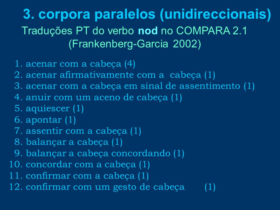 Traduções PT do verbo nod no COMPARA 2.1 (Frankenberg-Garcia 2002)