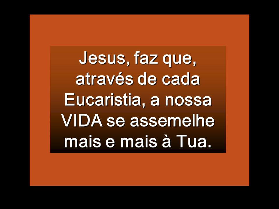 Jesus, faz que, através de cada Eucaristia, a nossa VIDA se assemelhe mais e mais à Tua.