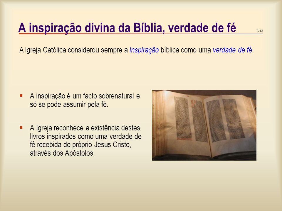 A inspiração divina da Bíblia, verdade de fé
