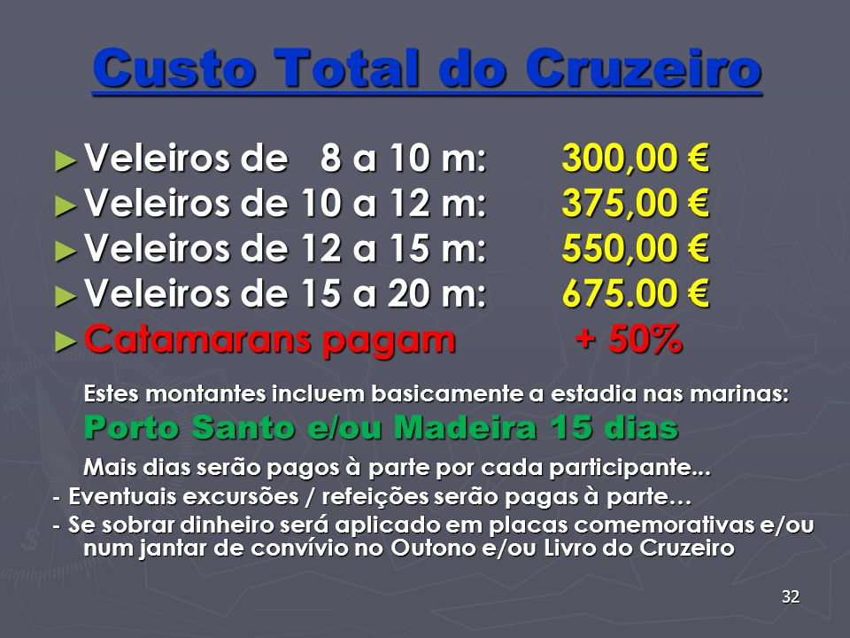 Custo Total do Cruzeiro