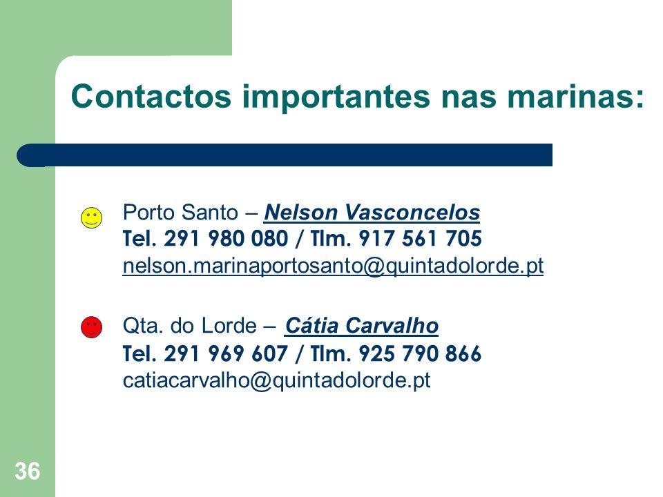 Contactos importantes nas marinas: