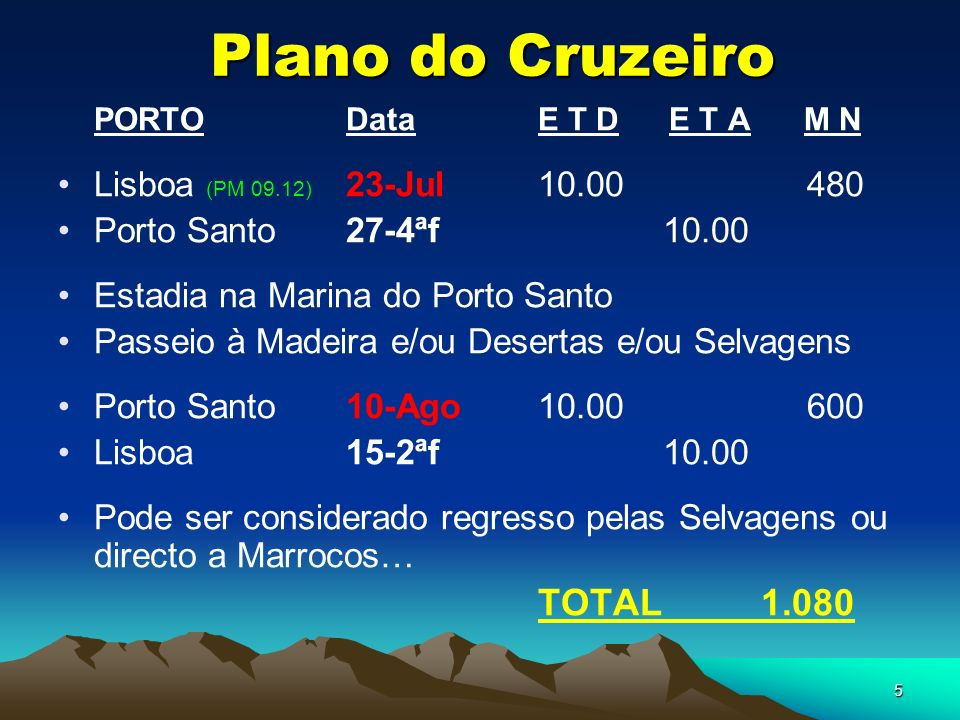Plano do Cruzeiro PORTO Data E T D E T A M N