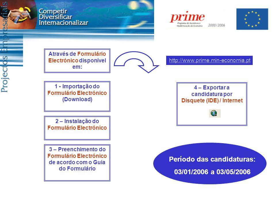 Período das candidaturas: 03/01/2006 a 03/05/2006