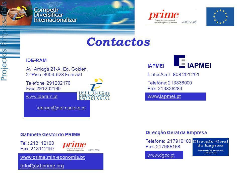 Contactos IDE-RAM. Av. Arriaga 21-A, Ed. Golden, 3º Piso, 9004-528 Funchal. Telefone: 291202170 Fax: 291202190.