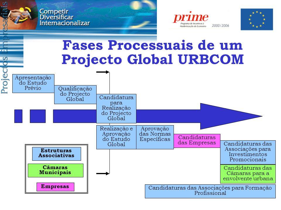Fases Processuais de um Projecto Global URBCOM Estruturas Associativas
