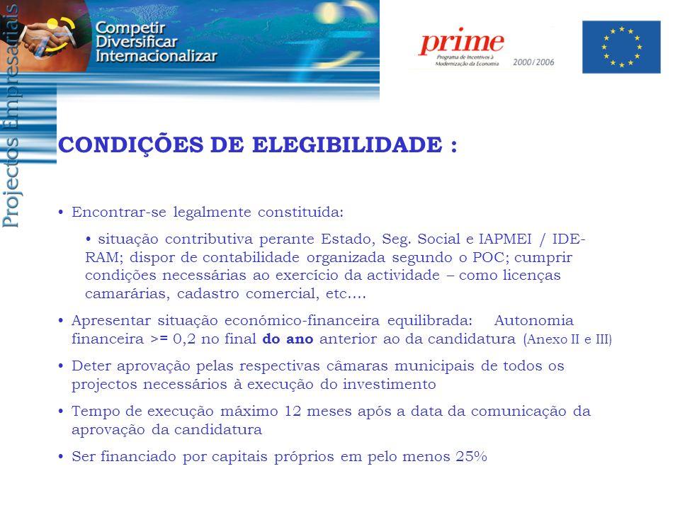 CONDIÇÕES DE ELEGIBILIDADE :