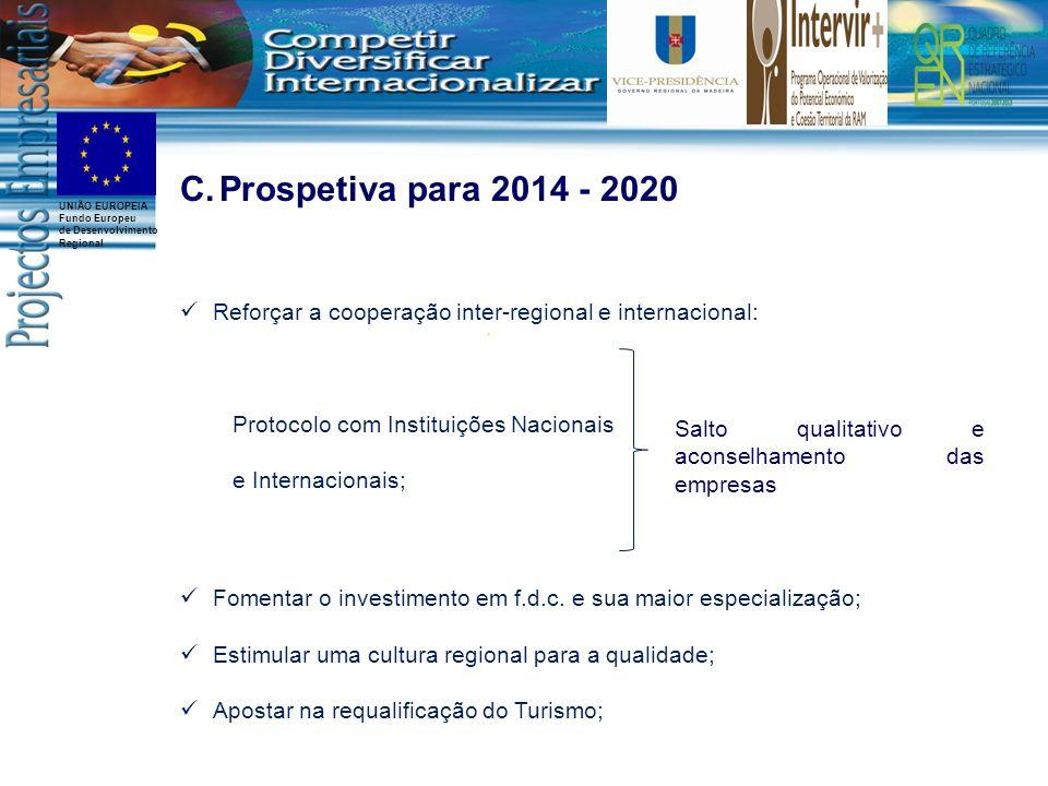 Prospetiva para 2014 - 2020 Reforçar a cooperação inter-regional e internacional: Protocolo com Instituições Nacionais.