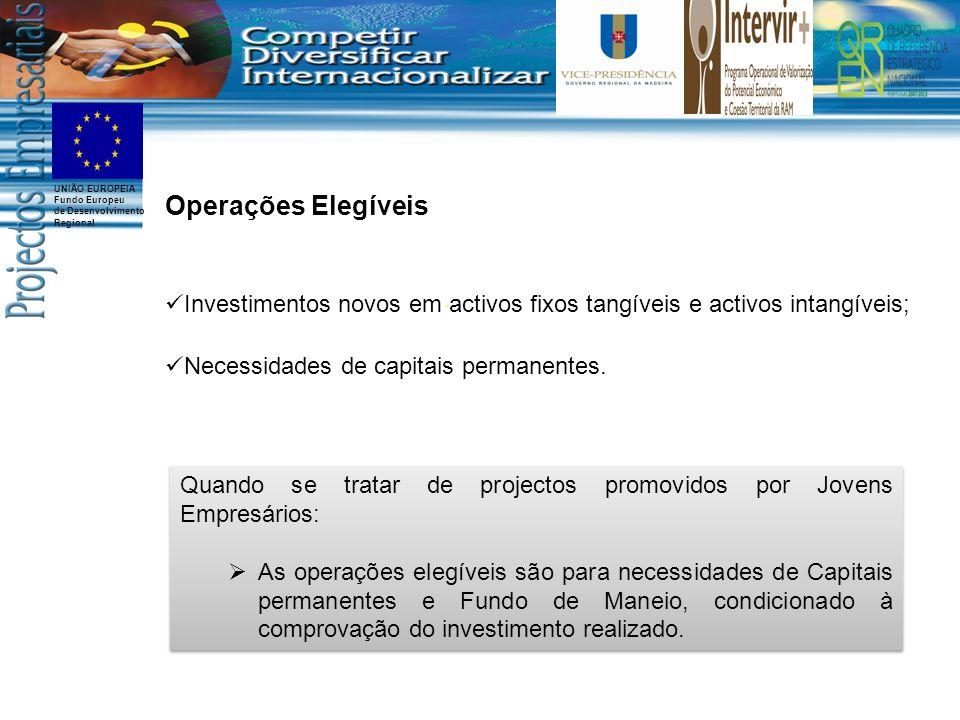 Operações Elegíveis Investimentos novos em activos fixos tangíveis e activos intangíveis; Necessidades de capitais permanentes.
