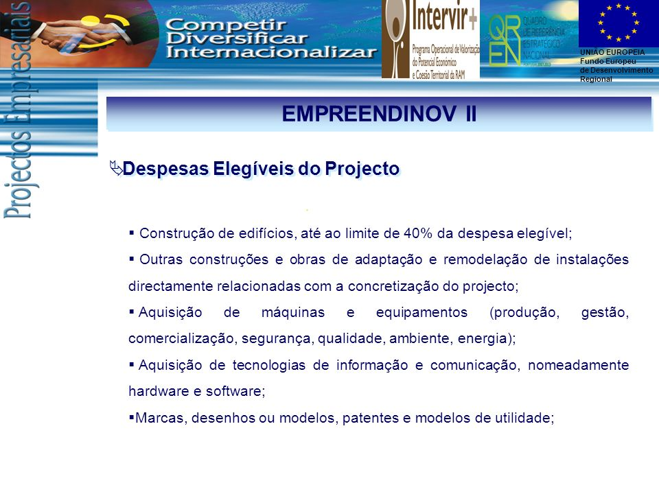 EMPREENDINOV II Despesas Elegíveis do Projecto