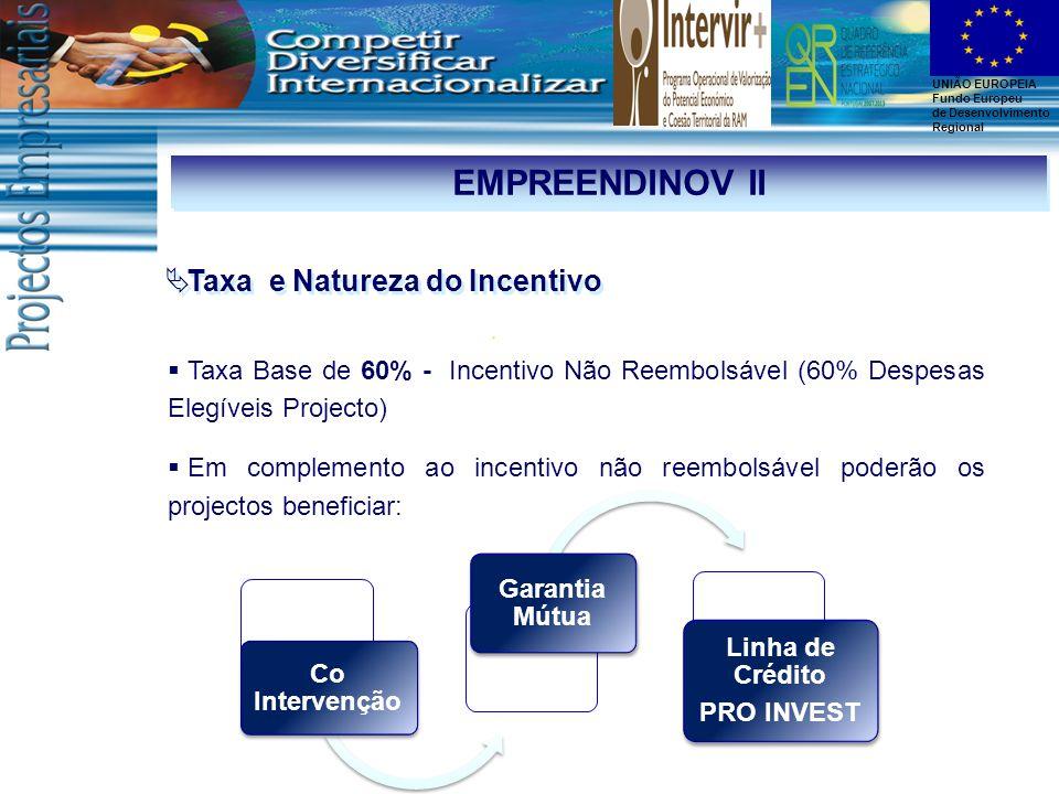 EMPREENDINOV II Taxa e Natureza do Incentivo Garantia Mútua