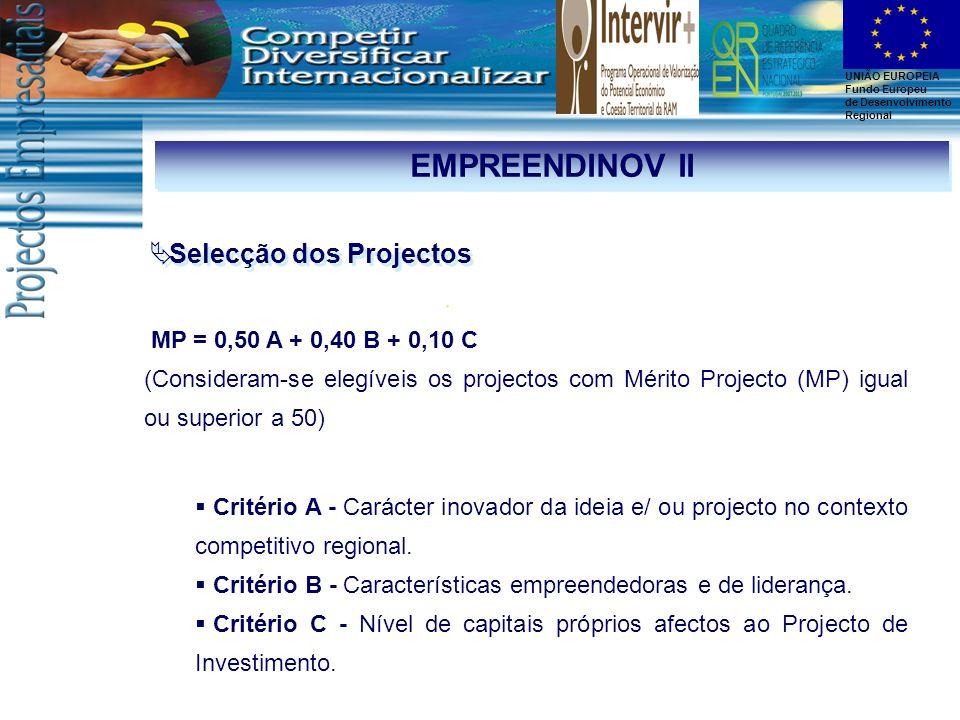 EMPREENDINOV II Selecção dos Projectos MP = 0,50 A + 0,40 B + 0,10 C