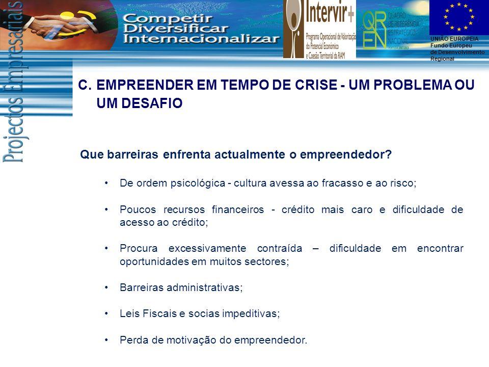 EMPREENDER EM TEMPO DE CRISE - UM PROBLEMA OU UM DESAFIO