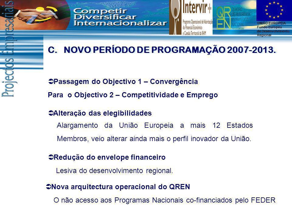 NOVO PERÍODO DE PROGRAMAÇÃO 2007-2013.