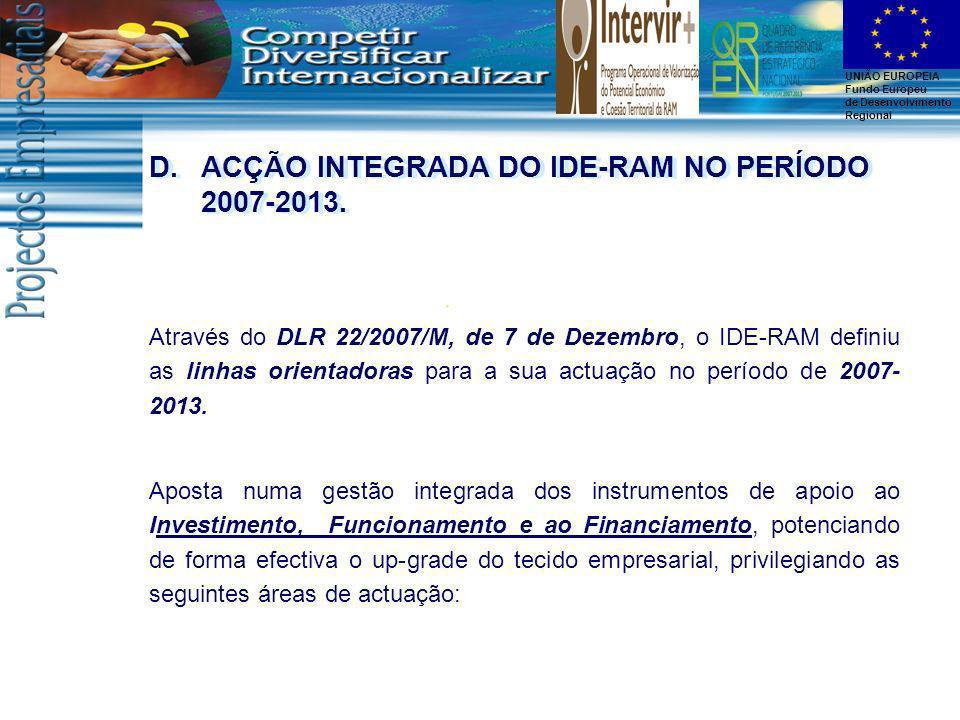 ACÇÃO INTEGRADA DO IDE-RAM NO PERÍODO 2007-2013.