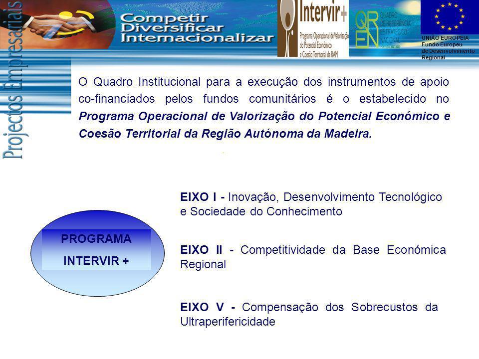 O Quadro Institucional para a execução dos instrumentos de apoio co-financiados pelos fundos comunitários é o estabelecido no Programa Operacional de Valorização do Potencial Económico e Coesão Territorial da Região Autónoma da Madeira.