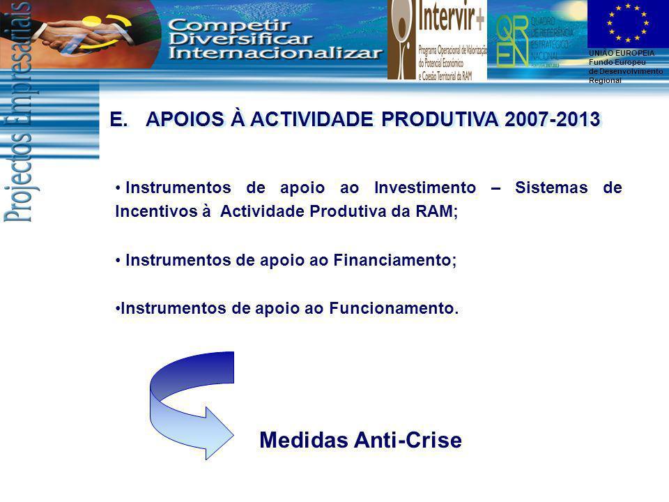 Medidas Anti-Crise APOIOS À ACTIVIDADE PRODUTIVA 2007-2013