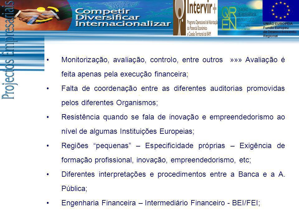 Monitorização, avaliação, controlo, entre outros »»» Avaliação é feita apenas pela execução financeira;
