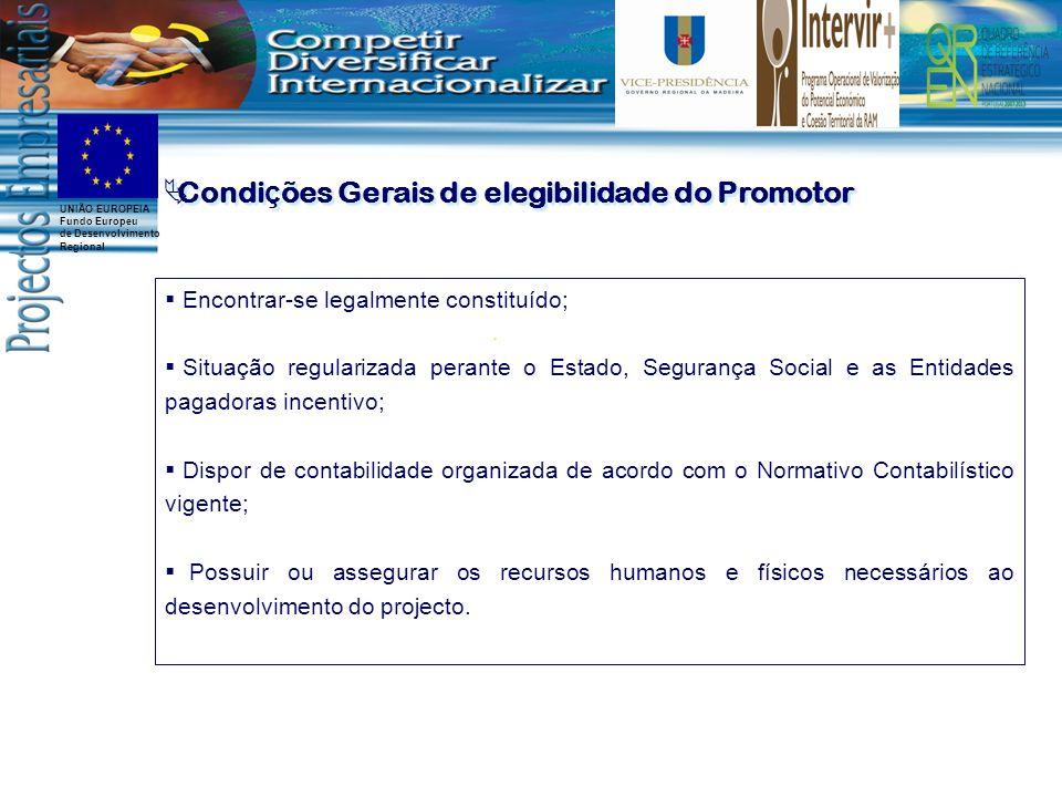 Condições Gerais de elegibilidade do Promotor