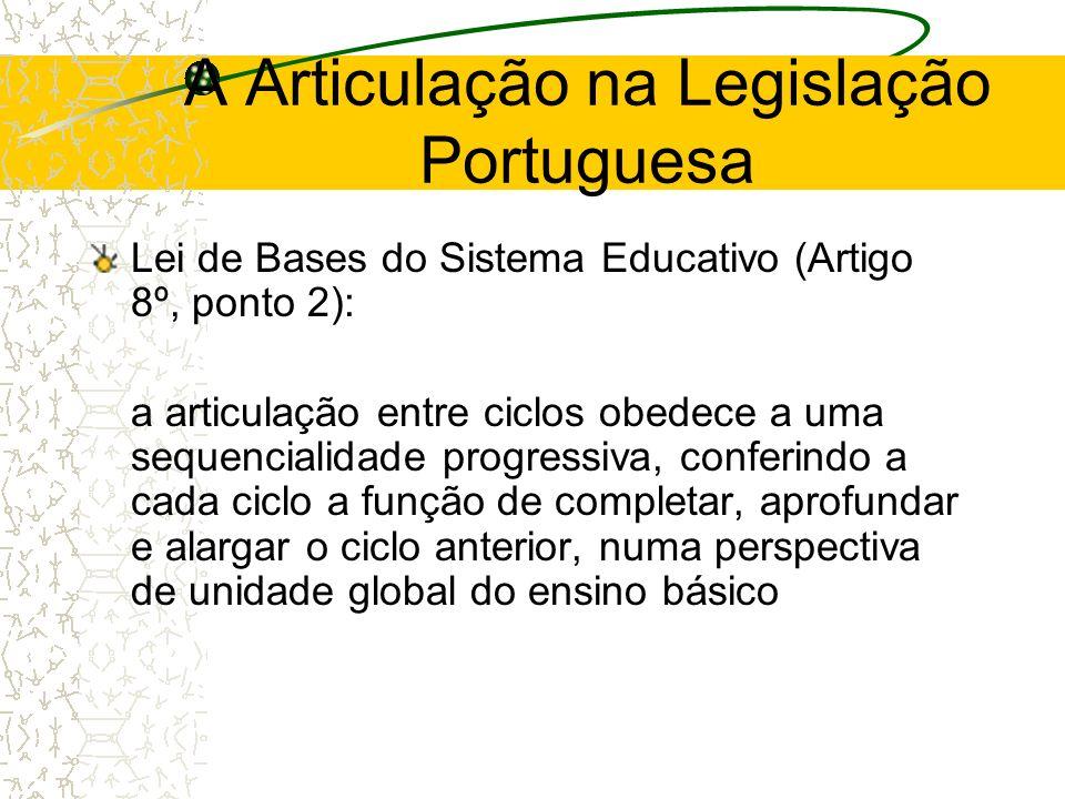 A Articulação na Legislação Portuguesa