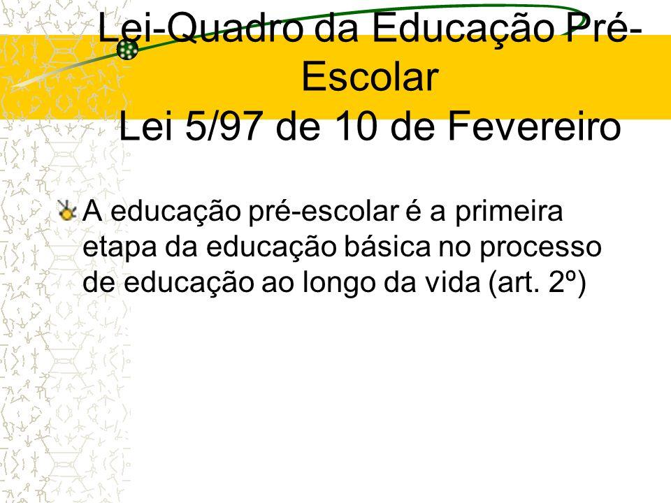 Lei-Quadro da Educação Pré-Escolar Lei 5/97 de 10 de Fevereiro