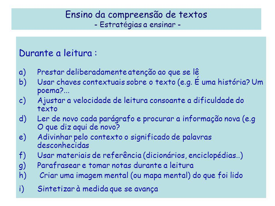 Ensino da compreensão de textos - Estratégias a ensinar -