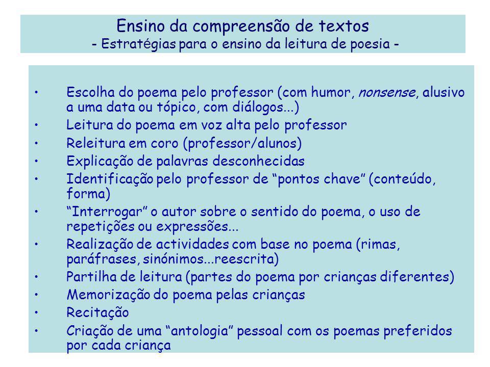 Ensino da compreensão de textos - Estratégias para o ensino da leitura de poesia -