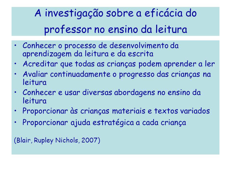 A investigação sobre a eficácia do professor no ensino da leitura
