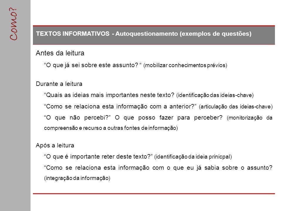 TEXTOS INFORMATIVOS - Autoquestionamento (exemplos de questões)