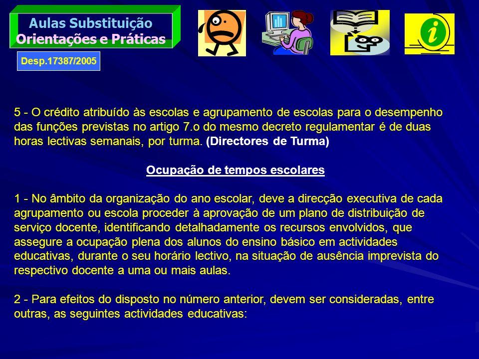 Orientações e Práticas Ocupação de tempos escolares