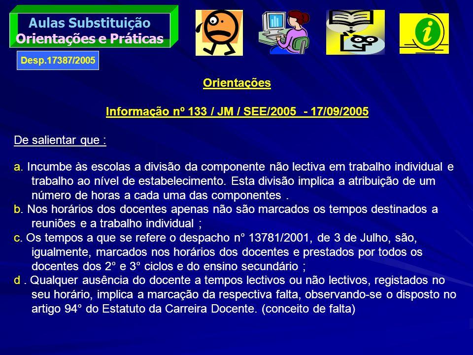 Orientações e Práticas Informação nº 133 / JM / SEE/2005 - 17/09/2005