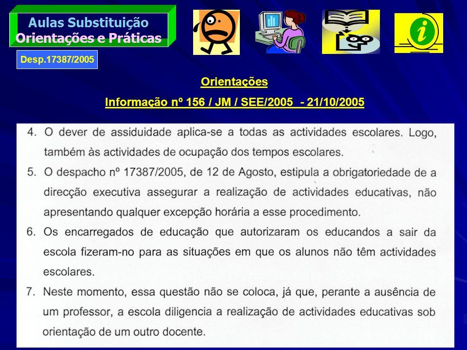 Orientações e Práticas Informação nº 156 / JM / SEE/2005 - 21/10/2005