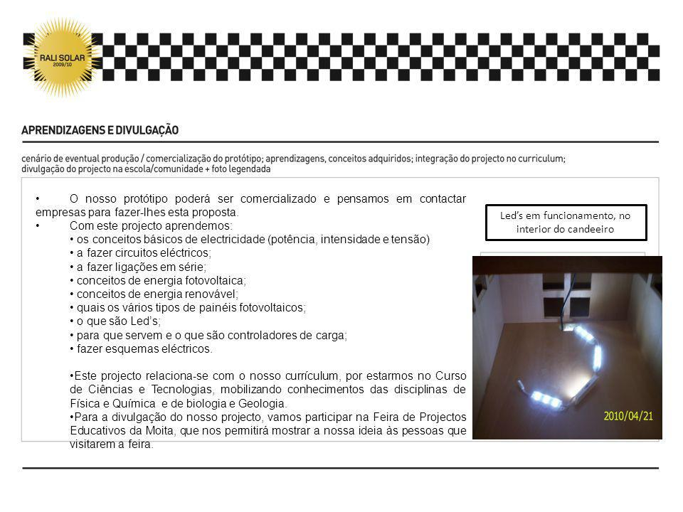 Led's em funcionamento, no interior do candeeiro