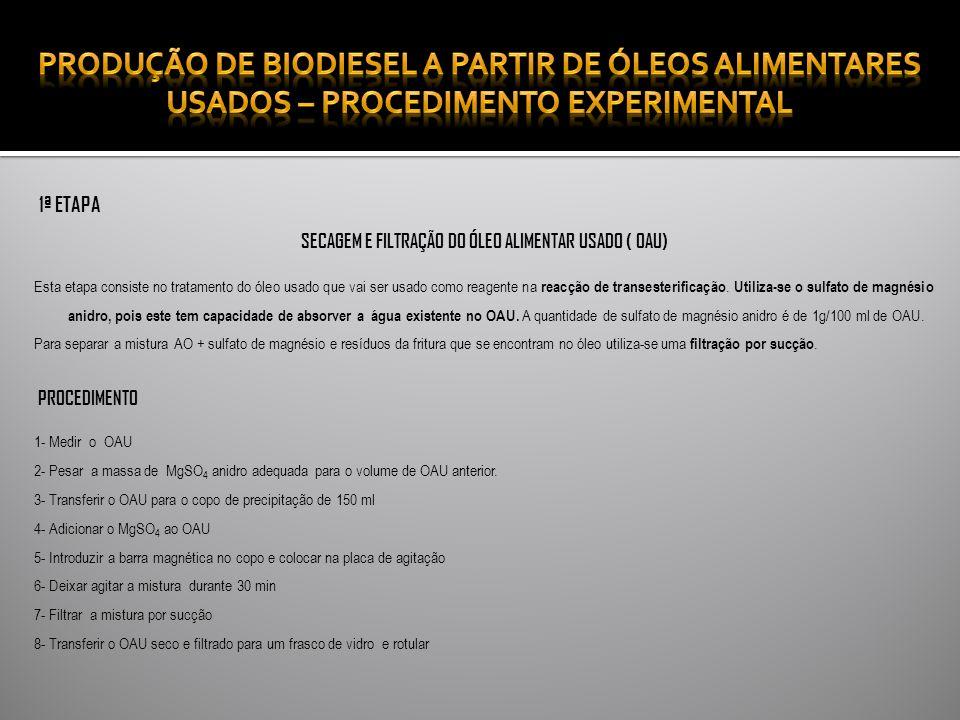 SECAGEM E FILTRAÇÃO DO ÓLEO ALIMENTAR USADO ( OAU)