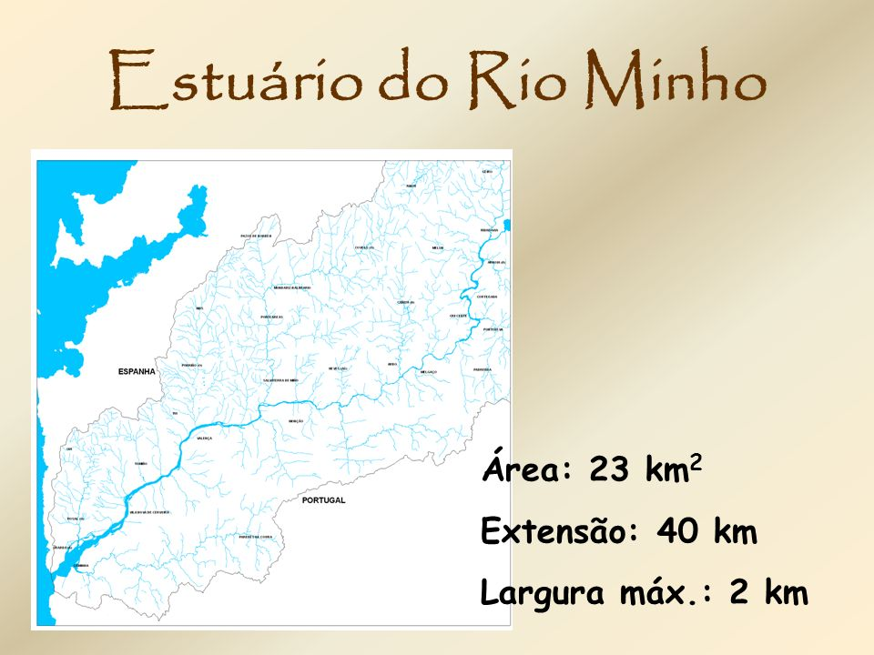 Estuário do Rio Minho Área: 23 km2 Extensão: 40 km Largura máx.: 2 km