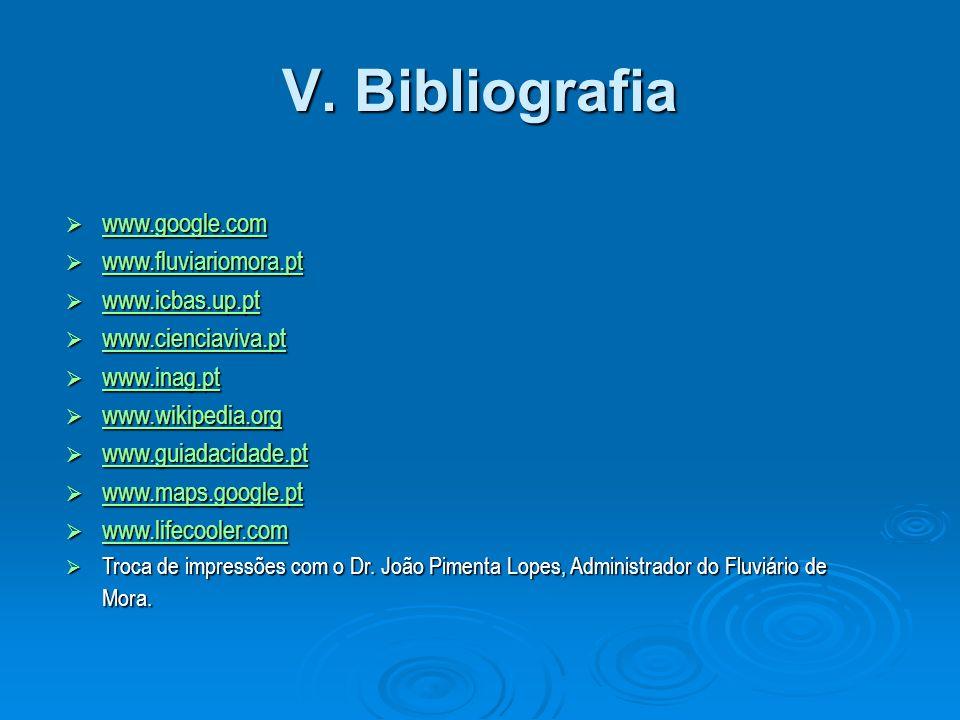 V. Bibliografia www.google.com www.fluviariomora.pt www.icbas.up.pt
