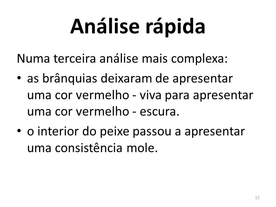 Análise rápida Numa terceira análise mais complexa: