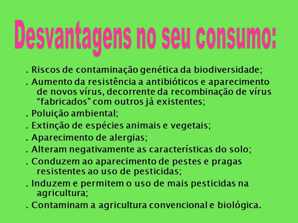 Desvantagens no seu consumo: