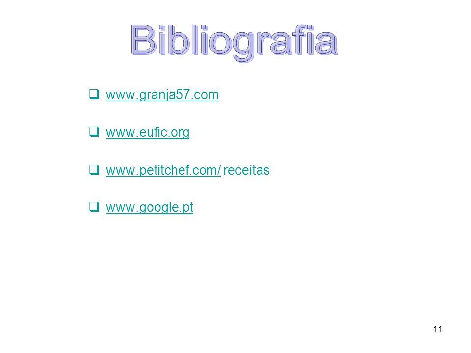 Bibliografia www.granja57.com www.eufic.org www.petitchef.com/ receitas www.google.pt