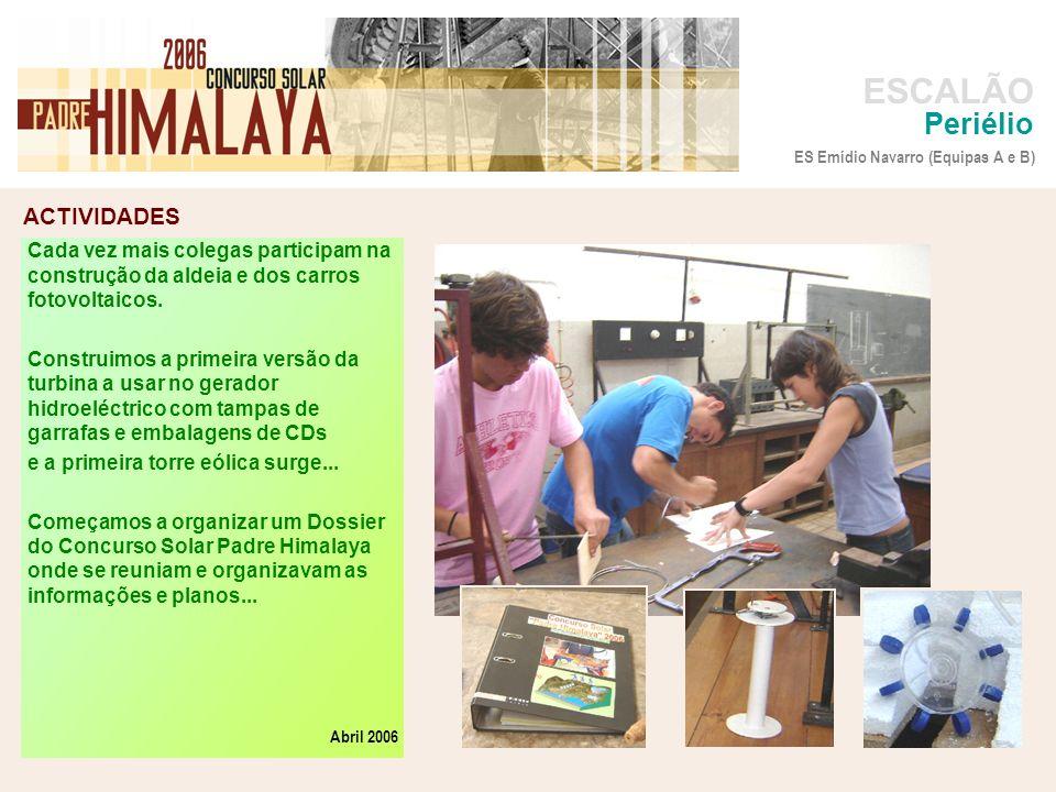 Periélio ES Emídio Navarro (Equipas A e B) Cada vez mais colegas participam na construção da aldeia e dos carros fotovoltaicos.