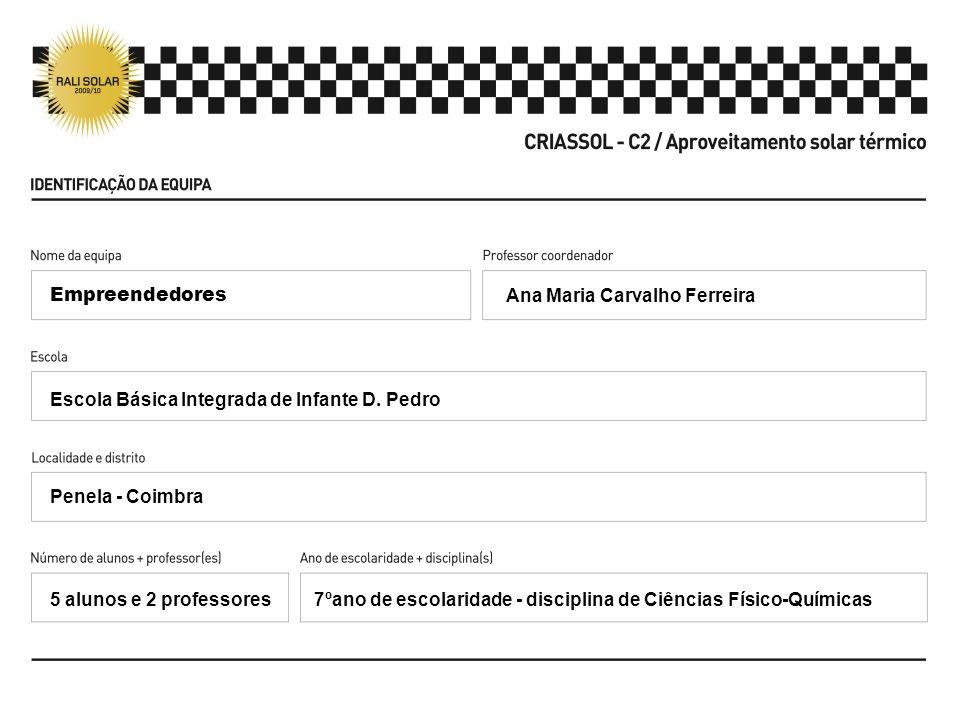 Empreendedores Ana Maria Carvalho Ferreira. Escola Básica Integrada de Infante D. Pedro. Penela - Coimbra.
