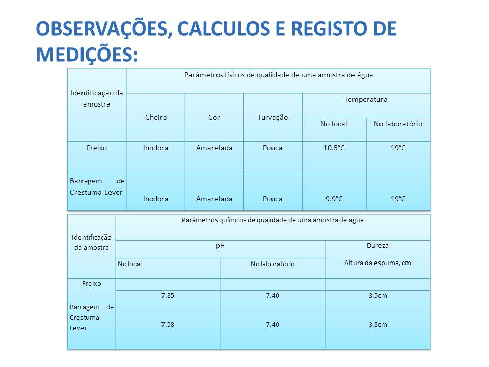 OBSERVAÇÕES, CALCULOS E REGISTO DE MEDIÇÕES: