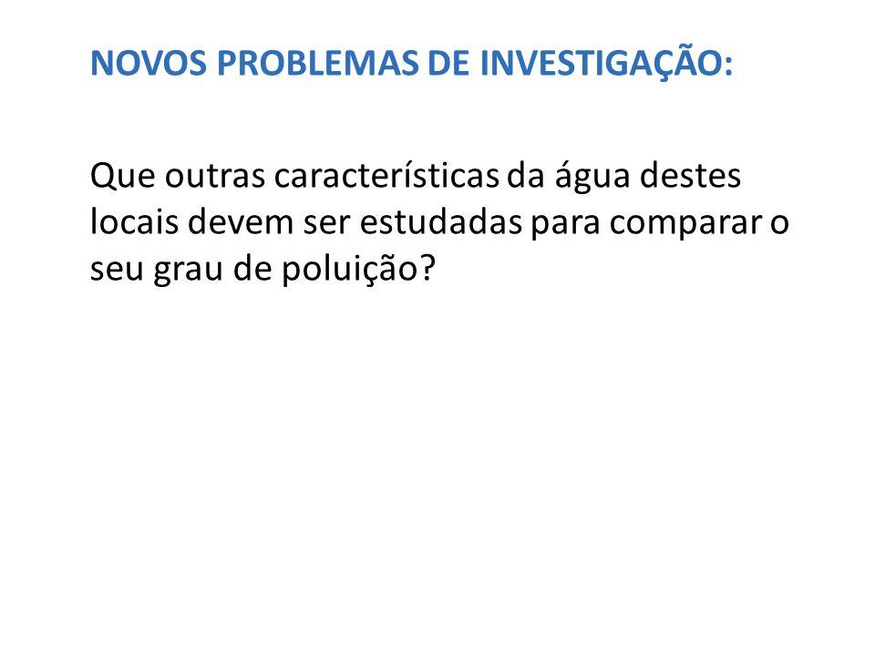 NOVOS PROBLEMAS DE INVESTIGAÇÃO: